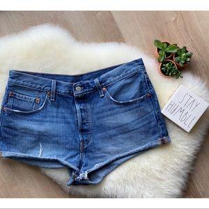 Levi 501 Denim Shorts Button Fly